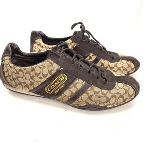 COACH REMONNA Signature Brown Lace Up Sneakers 10